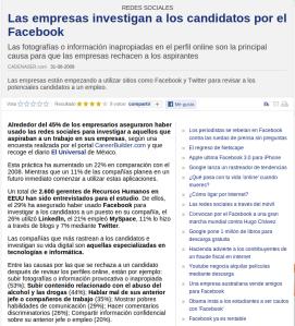Las empresas investigan a través de Facebook