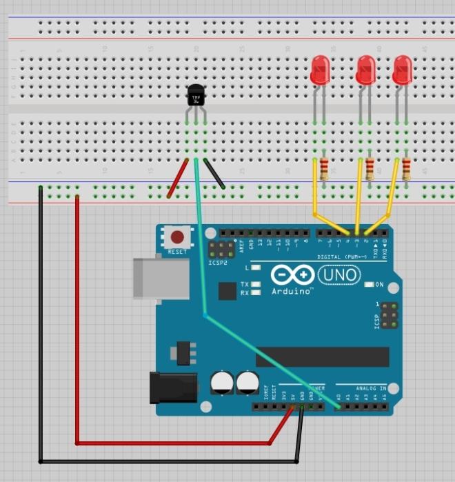 Love o Meter - Montaje en protoboard