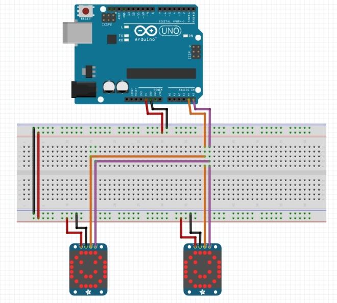 Matriz bicolor de 8x8 combinada - Diseño de protoboard